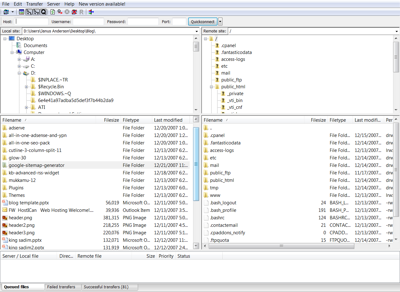 FileZilla Screenshot